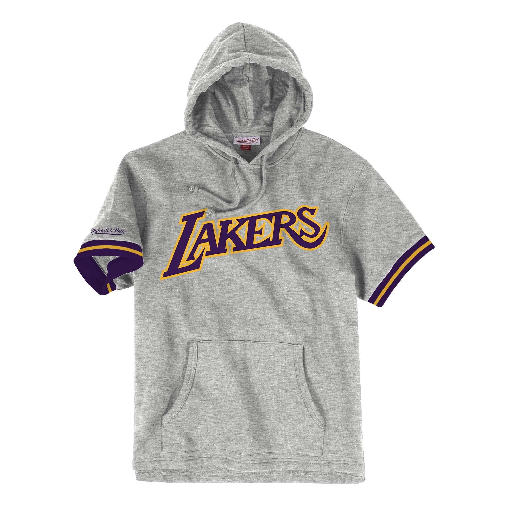 French Terry Short Sleeve Hoody Los Angeles Lakers French Terry Shorts Terry Shorts Short Sleeve Hoodie