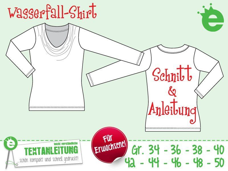 Wasserfallshirt Gr. 34-50 eBook /Schnittmuster | Pinterest | Sewing ...