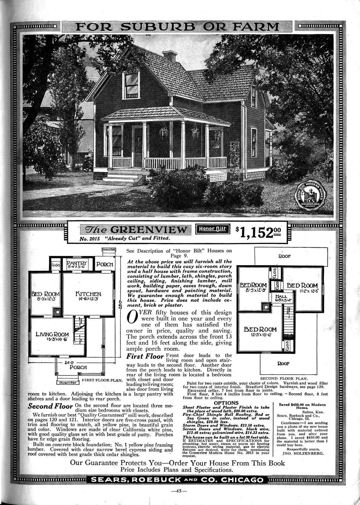 Sears Greenview Craftsman House Plans Vintage House Plans