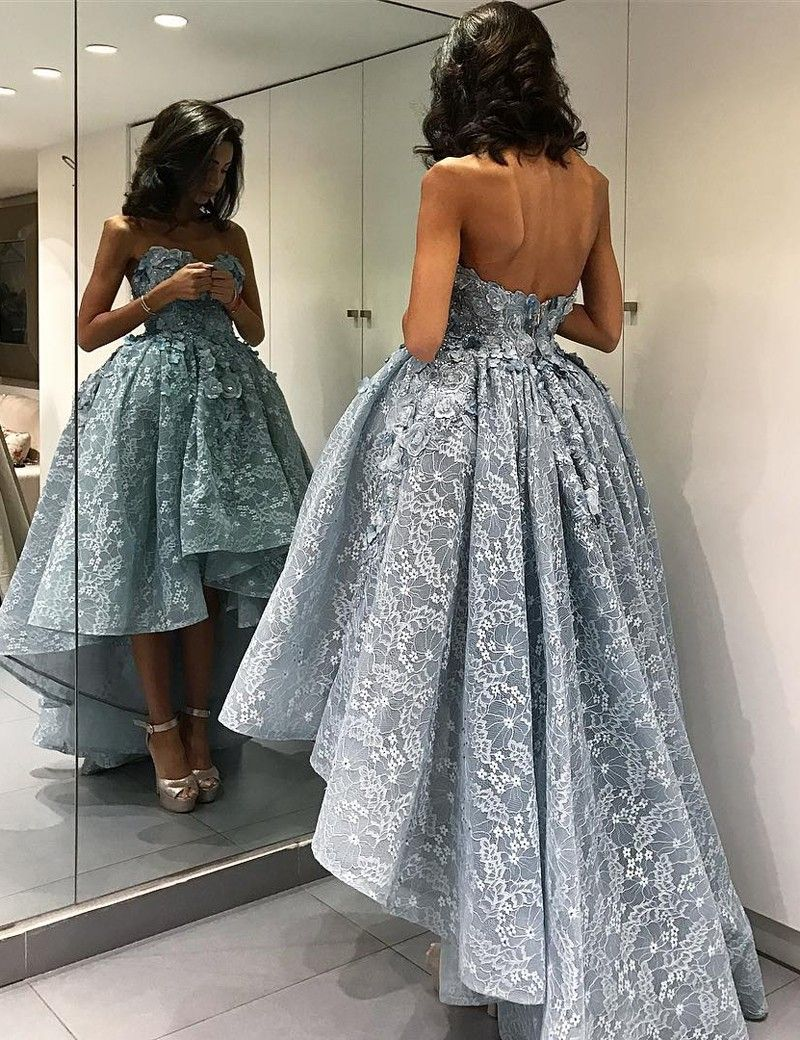 Cheap high low wedding dresses   promHigh Low Lace Prom Dress Lace Prom DressesBlue Prom