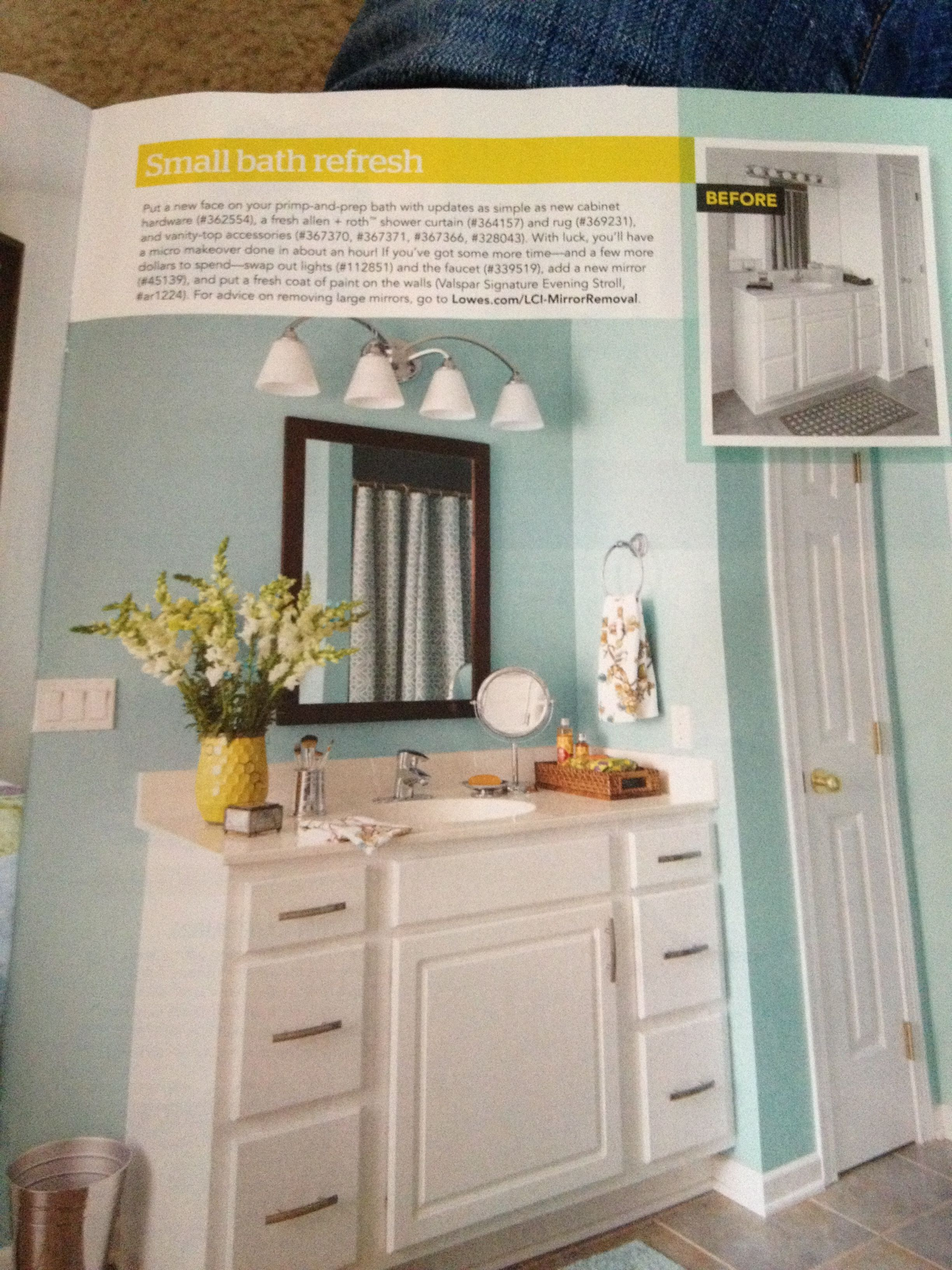 Need to update our bathroom. Photo from lowes creative ideas spring 2013