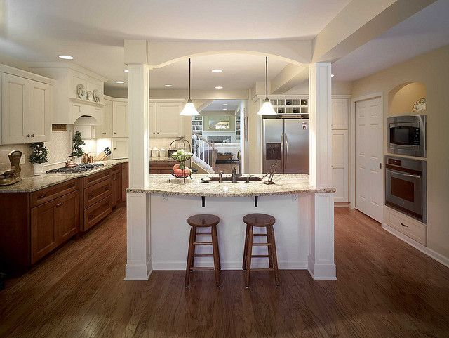 Kitchen with Central Island | Stools for kitchen island ...