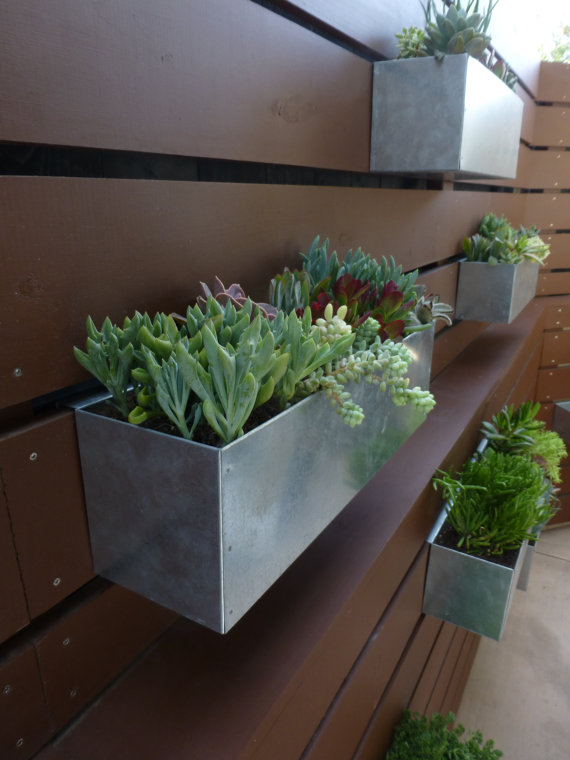 Metal hanging planter box horizontal fence by for Fence hanging flower pots