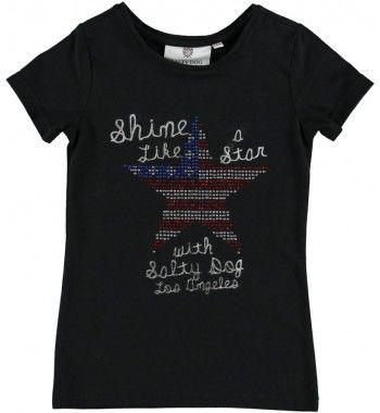 Hip t-shirt van Salty Dog 'Shine like a Star, with Salty Dog Los Angeles'. Op de voorkant een ster van strass steentjes, in de kleuren van de Amerikaanse vlag,