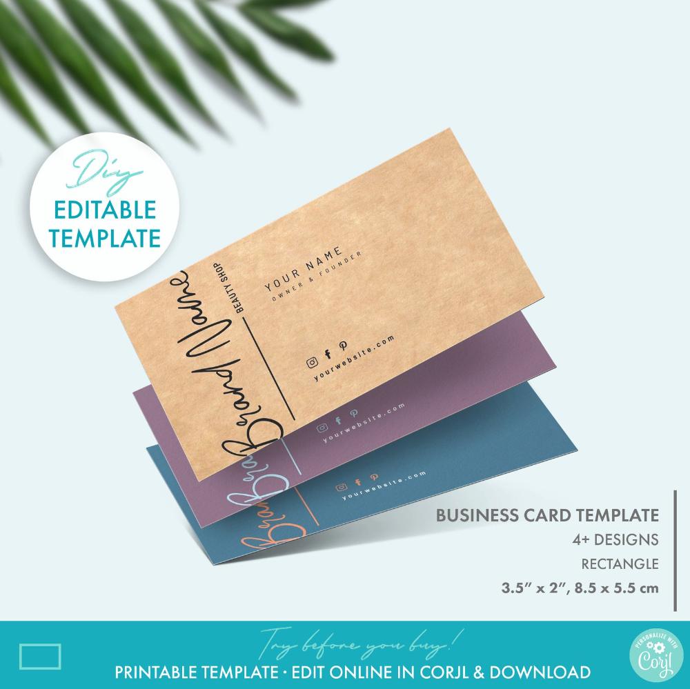 Diy Printable Elegant Business Card Template 2 Sizes Etsy Elegant Business Cards Printable Business Cards Business Card Size