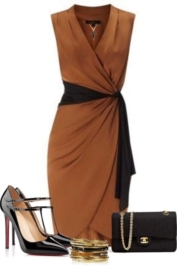 I could see a plain wrap dress and using a scarf instead of the black insert :)