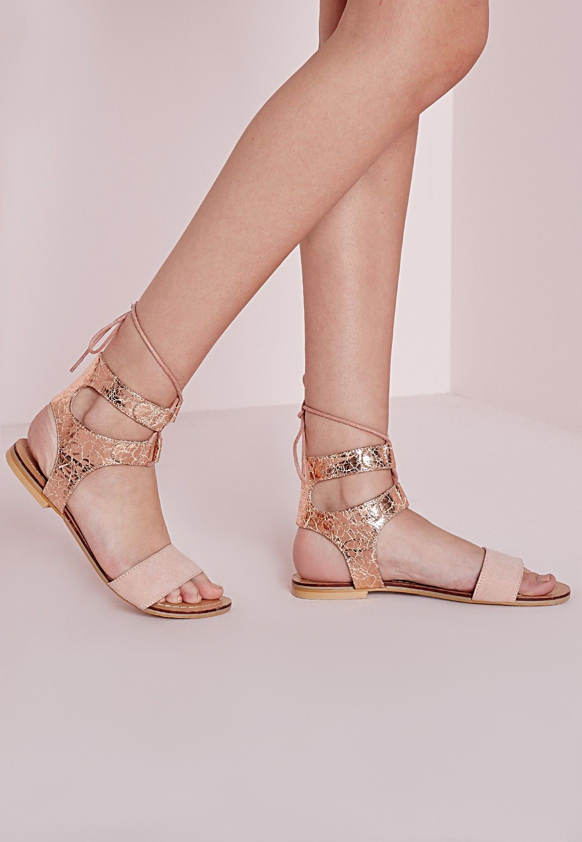 Missguided - Cracked Metallic Flat Sandals Rose Gold