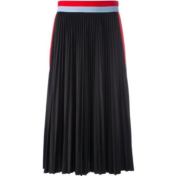 officiel stripe print pleated long skirtMsgm Vraiment En Ligne 0uJbt