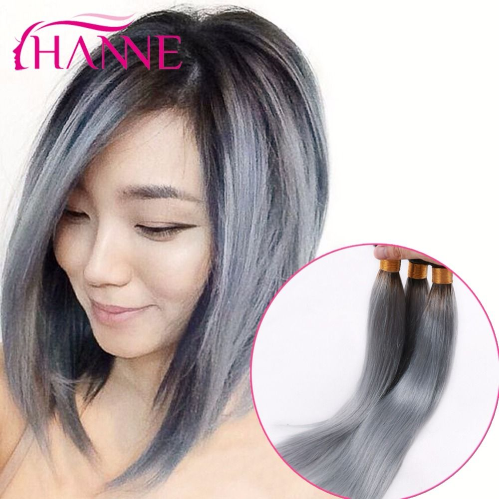 dark root ombre ash grey color human hair extenions 3 4pcs. Black Bedroom Furniture Sets. Home Design Ideas