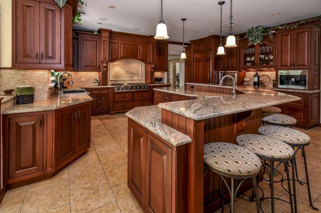inspiring u shaped kitchen ideas with breakfast bar 43