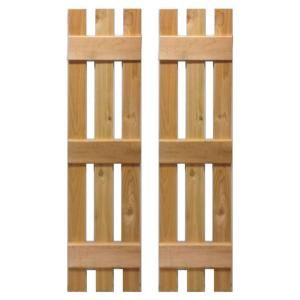 Design Craft MIllworks 12 in. x 48 in. Natural Cedar Baton Spaced Shutters Pair-420058 at The Home Depot