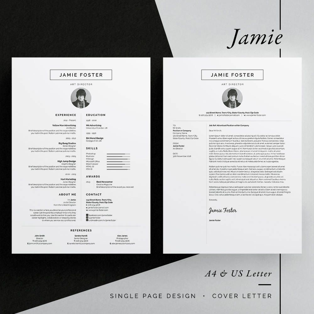 Jamie ResumeCv Template  Word  Photoshop  Indesign
