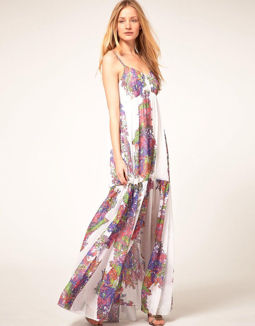 Halston Heritage Printed Silk Maxi Dress