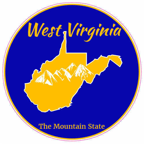West Virginia The Mountain State Circle Decal | Mountain ...