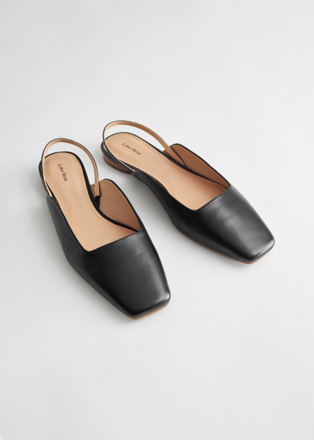 leather black flats