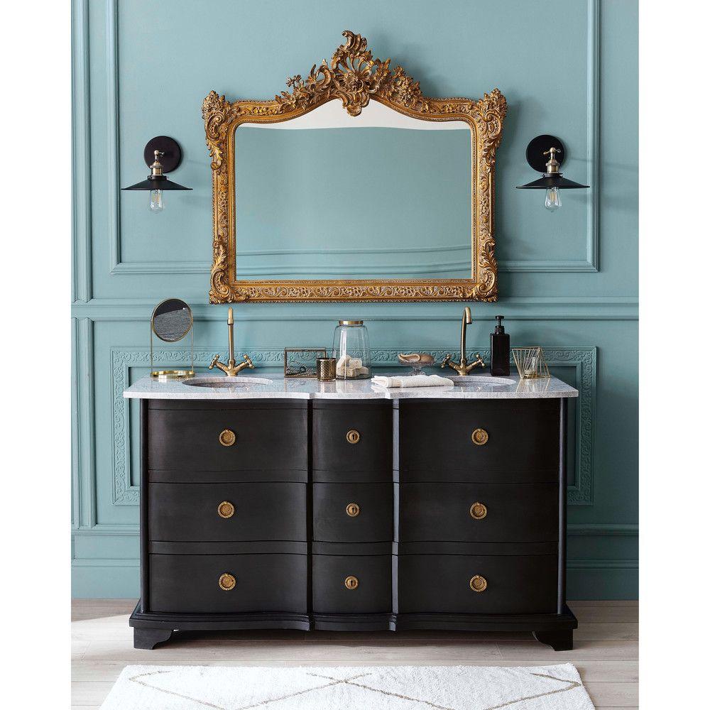 Stone And Black Solid Mango Wood Black Double Sink Vanity Unit Meuble Double Vasque Meuble Sous Vasque Lavabo Vanite