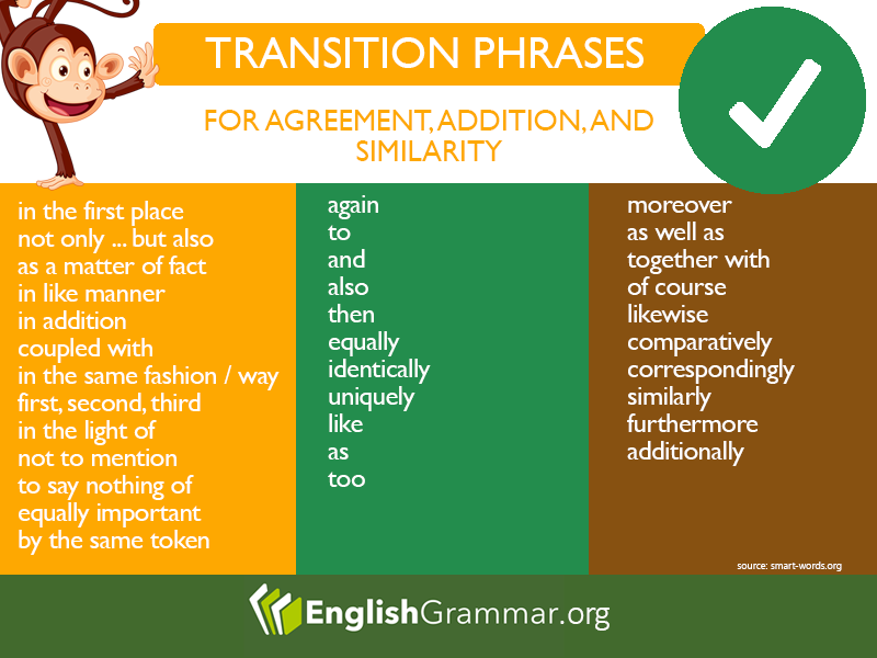 Transition Phrases For Agreement Addition Similarity Language