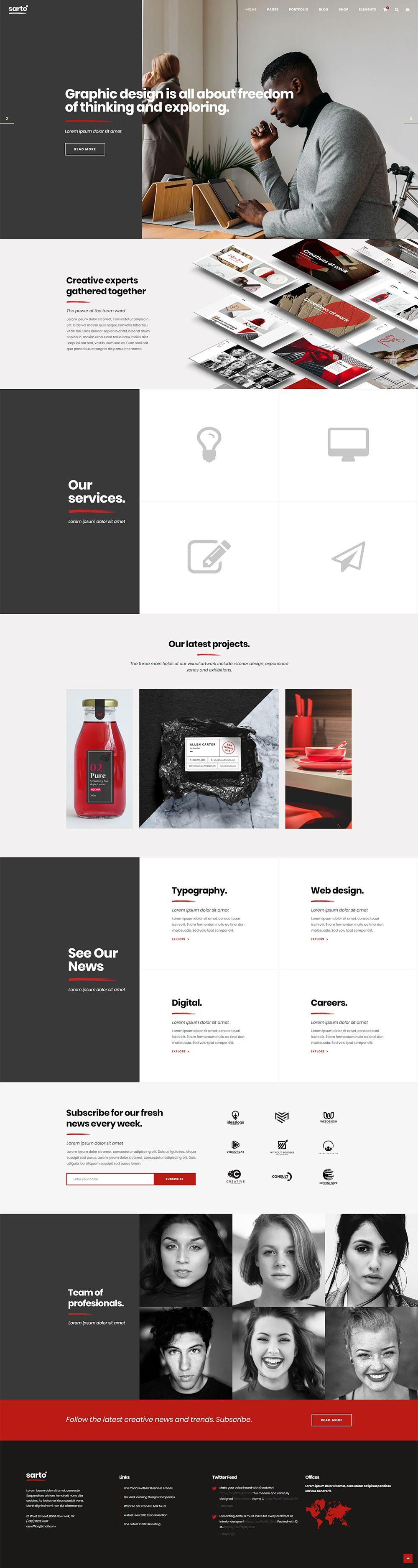Tell Your Creative Business Story With Sarto Wordpress Theme Wordpress Design Theme Layout Te Wordpress Theme Design Web Design Company Web Design Trends