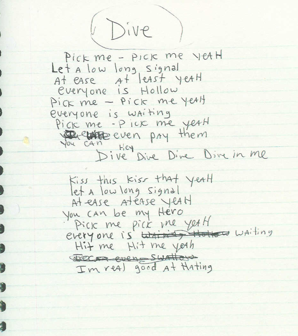 Nirvana lyrics to dive awesome bands music nirvana songs nirvana lyrics nirvana - Nirvana dive lyrics ...