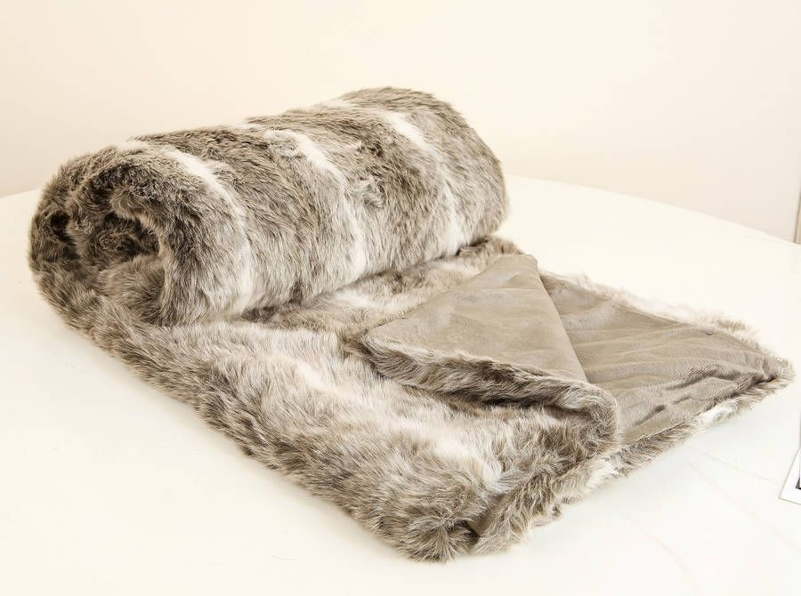 Luxury Faux Fur Throw Fake Fur Blankets Ruched Faux Fur