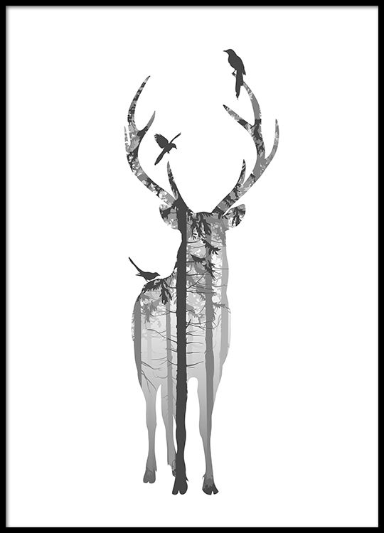Stylish poster with a deer in a black picture frame.   Destinys Room ...