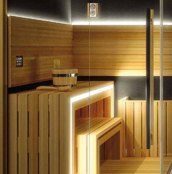 A designer Jacuzzi Sasha home spa combines a sauna shower and a