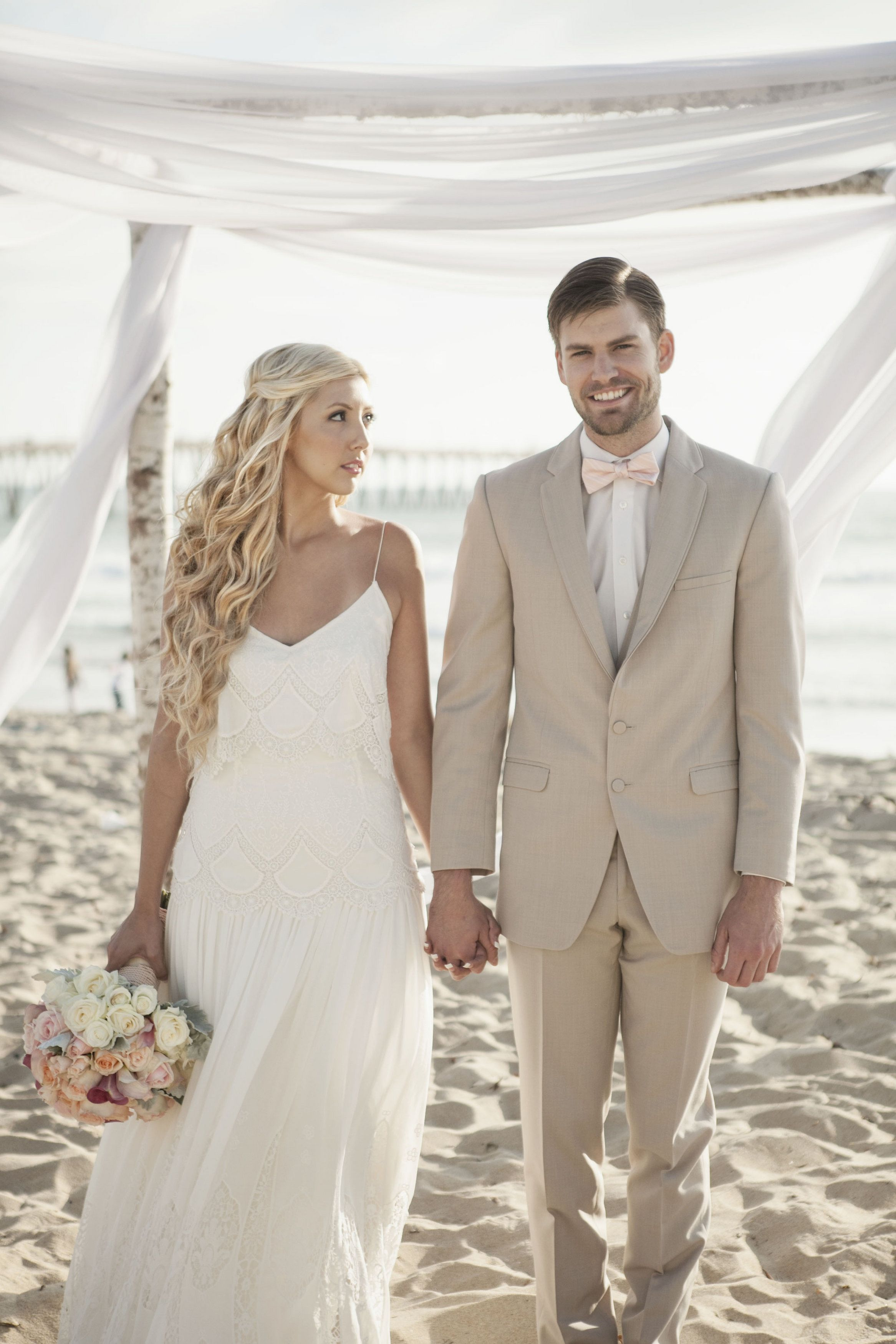 Beach Wedding Boho Lace Dress Tan Suit San Diego Beach Wedding