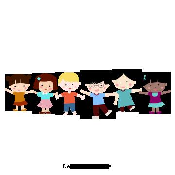 Ensenar A Los Ninos Kids Graphic Design Children Holding Hands Happy Cartoon