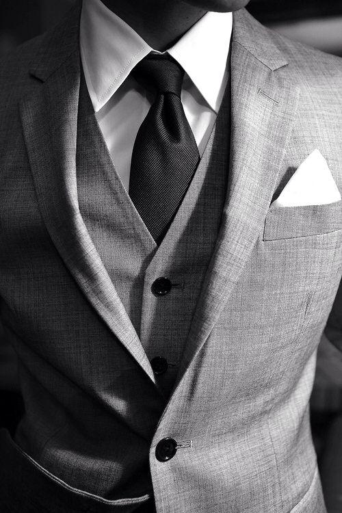 Mens Street Style Fashion 3 Piece Grey Suit Vest Waistcoat Jacket