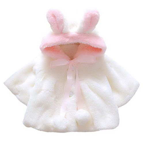 d552acc69 Baby Girls Winter Fur Princess Coat Hoodies Warm Snowsuit Wedding Clothes  Overcoat for 16 Months White