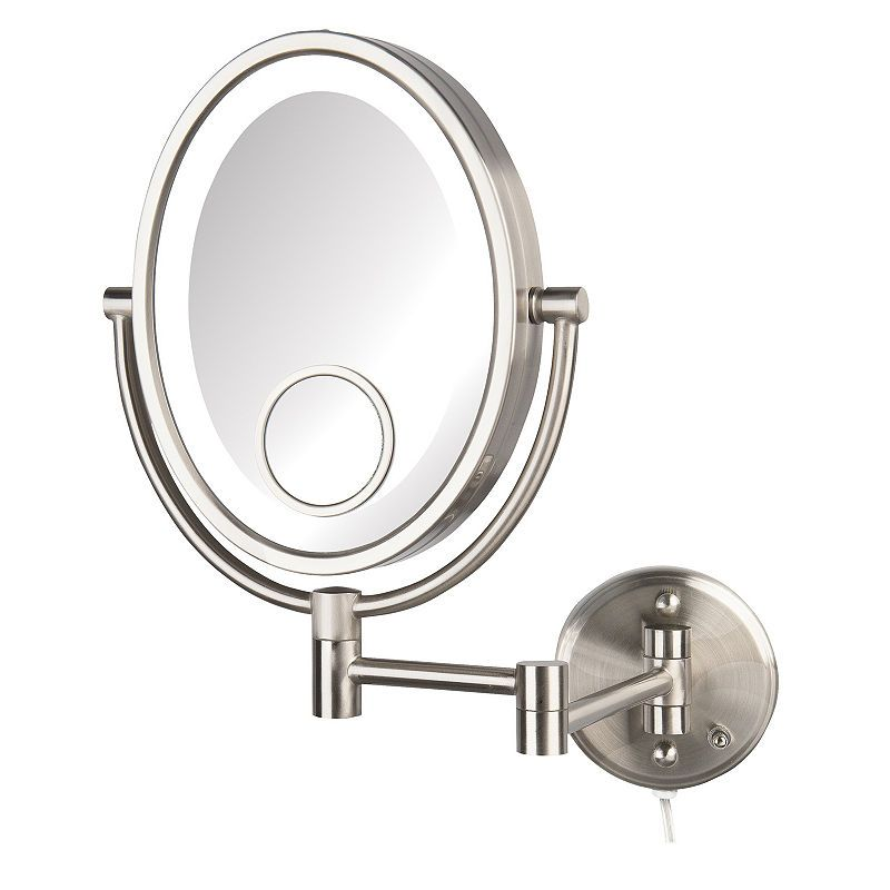 Jerdon Hl9515nl Led Lighted Nickel Wall Mirror Lighted Wall