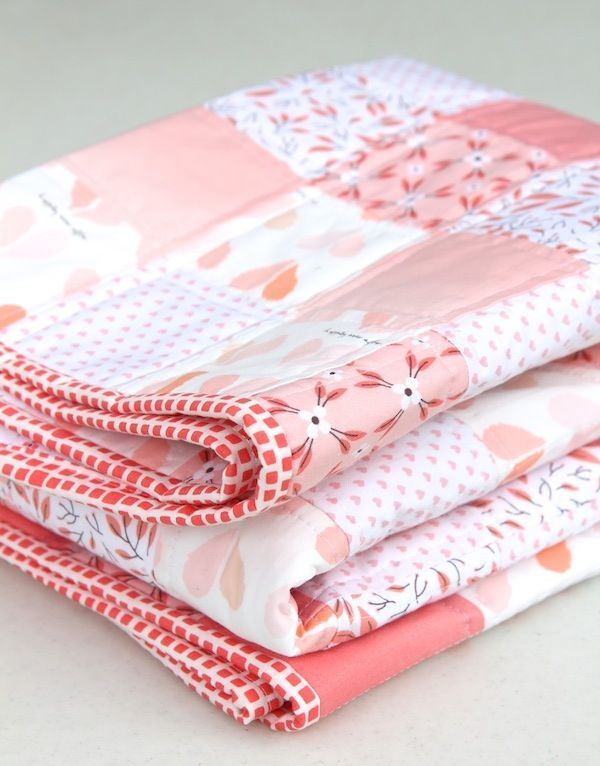 Peachy Keen Baby Girl Quilt - one of a kind baby gift.