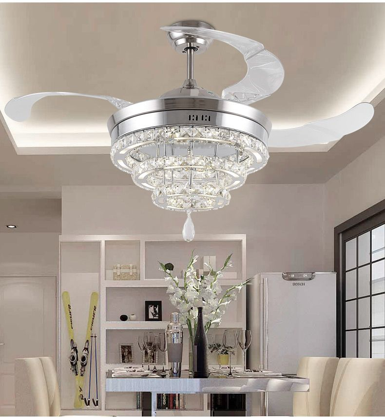 LED invisible K9 ceiling crystal fan light restaurant fans lamp