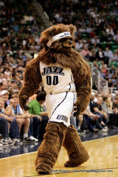 I Guess A Bear Mascot For The Utah Jazz Makes As Much Sense As Calling The Team The Jazz Utah Jazz Utah Jazz Basketball Jazz Basketball