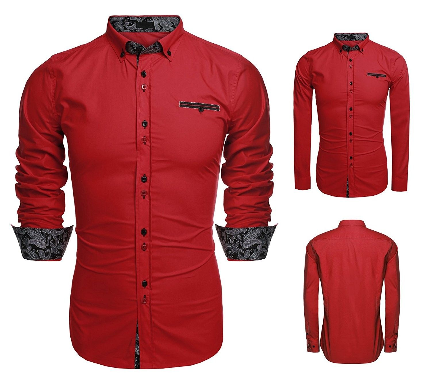Men Button Down Shirt Casual Long Sleeve Formal Dress Shirts Slim Fit Fashion Tops  Red  CC17AAQC0E3 is part of Clothes Mens Buttons - Color Red SKU CC17AAQC0E3 Giftwrap Available
