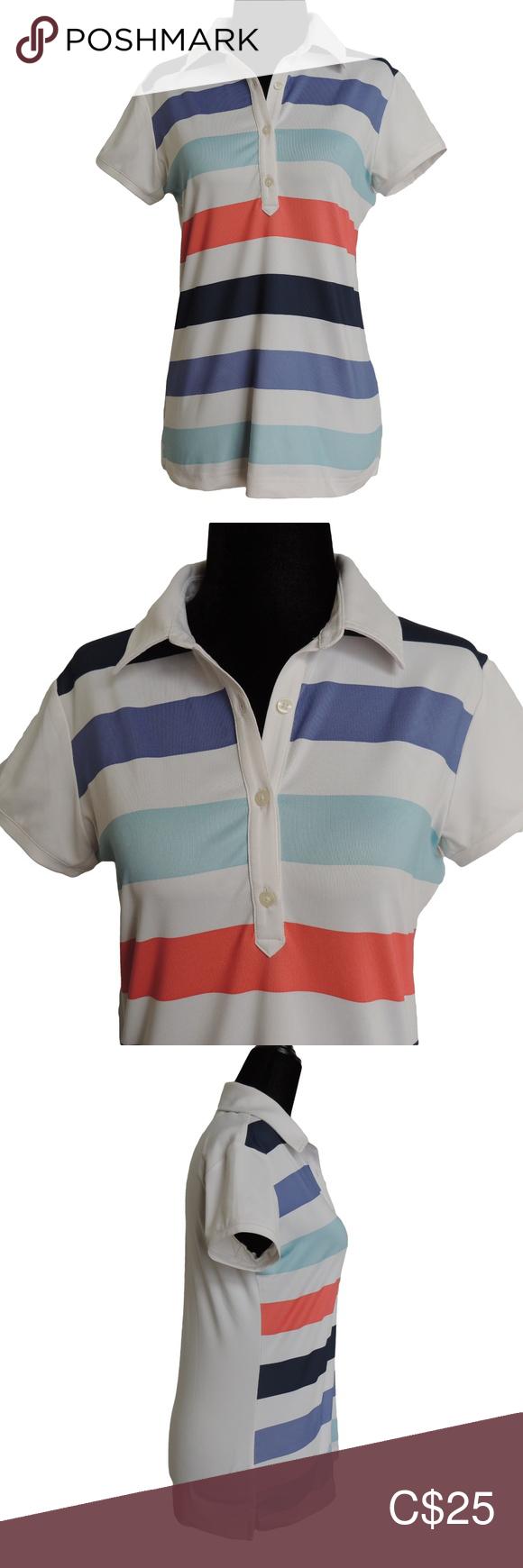 ADIDAS Striped Climacool Short Sleeve Golf Polo S