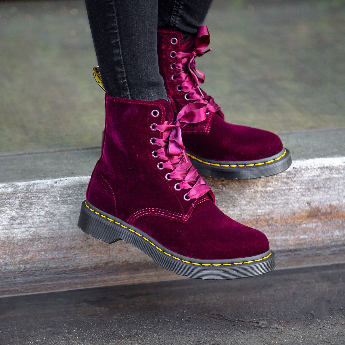 Cherry Red Velvet Dr. Martens Boots (With images) | Red