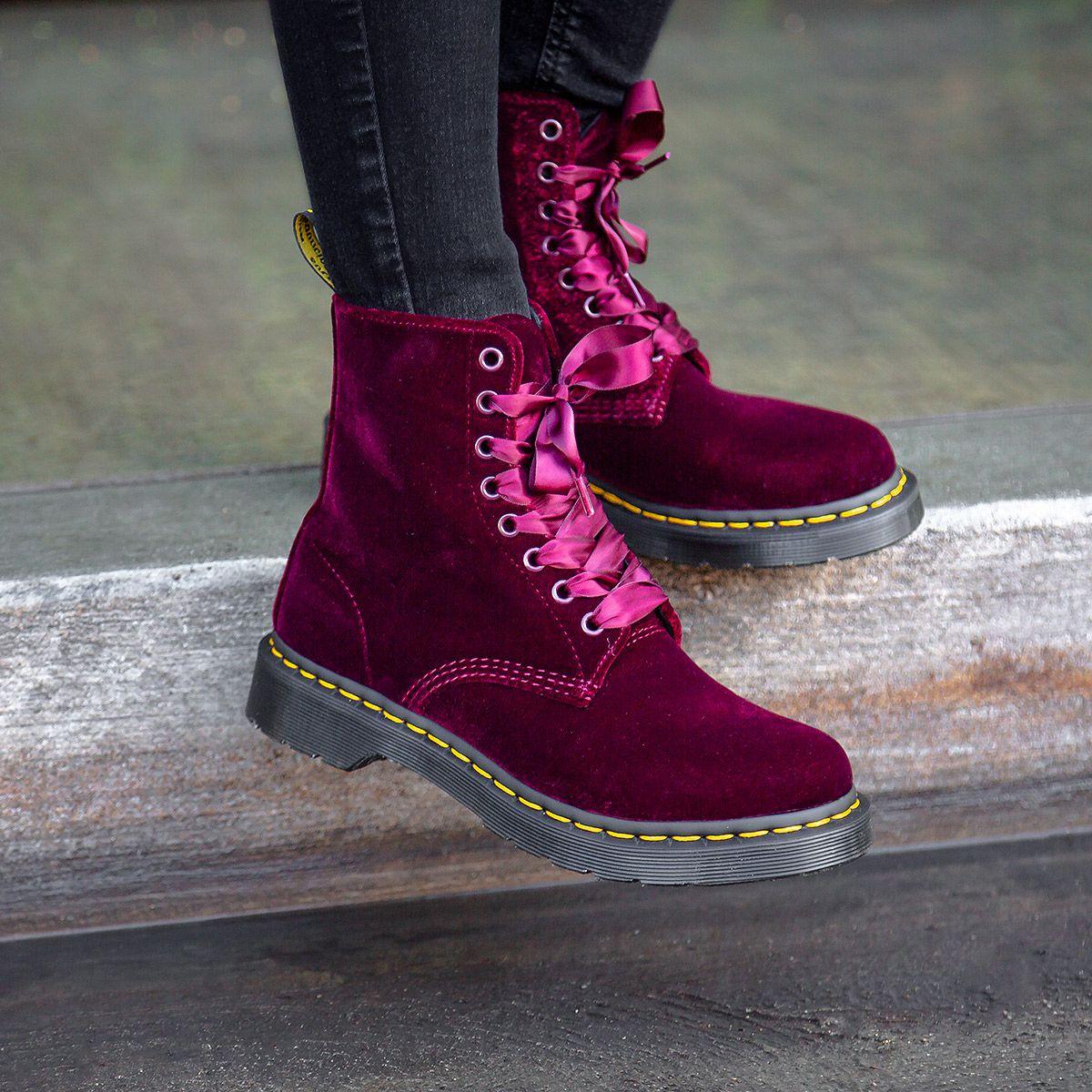 Dr. Martens 1460 Pascal Cherry Red Velvet Boots | Red velvet