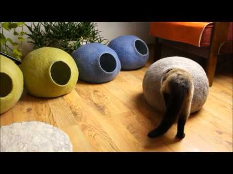 How to Make a Wet Felted Cat / Kitten Cave/ a Free Tutorial #feltedwoolcrafts