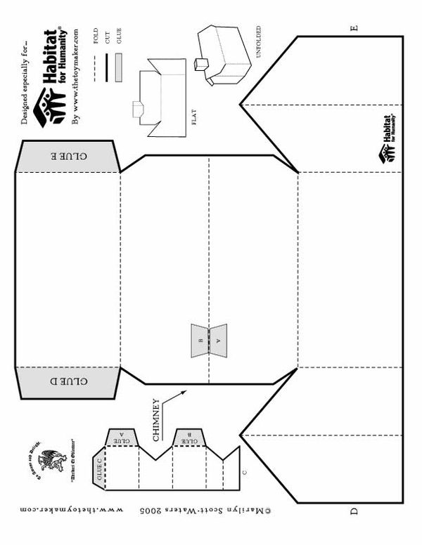 Foldable printable paper house | Templates,Patterns,Stencils-Free ...