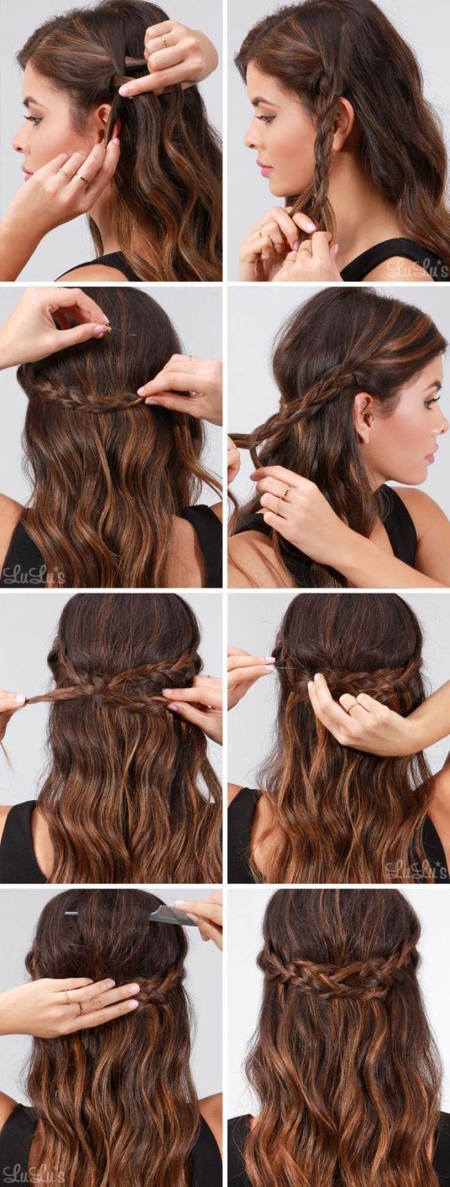 Schnelle einfache formale Party-Frisuren für lange Haar-DIY-Ideen