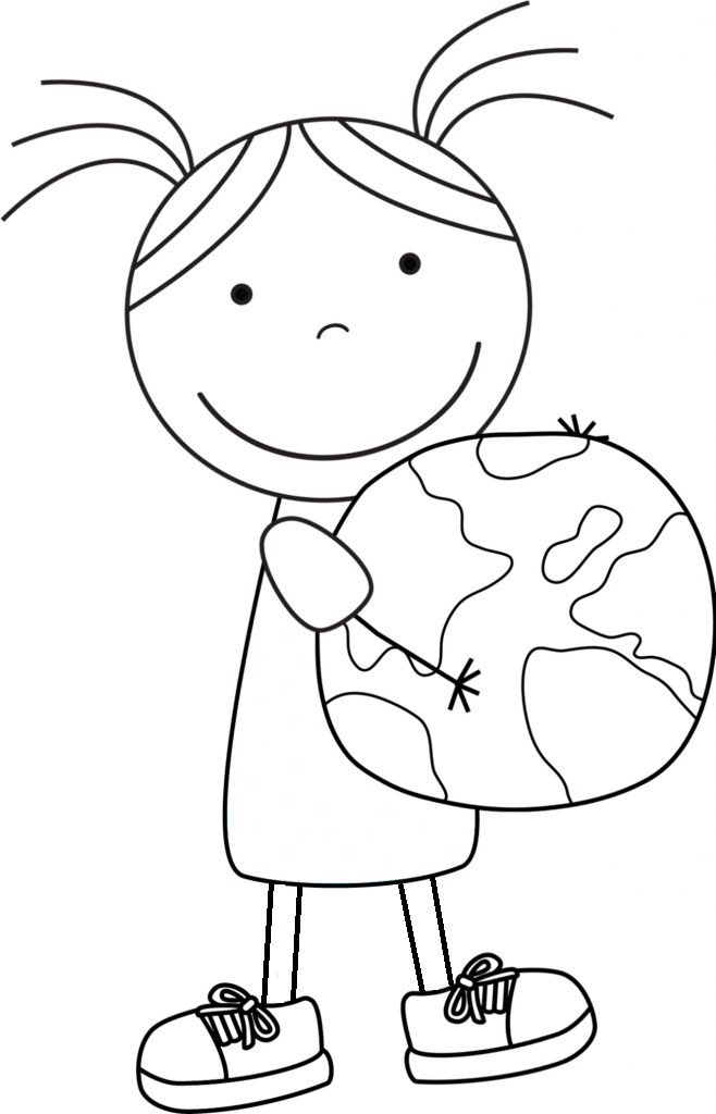 Girl Bring Small Planet On Earth Day coloring picture for kids