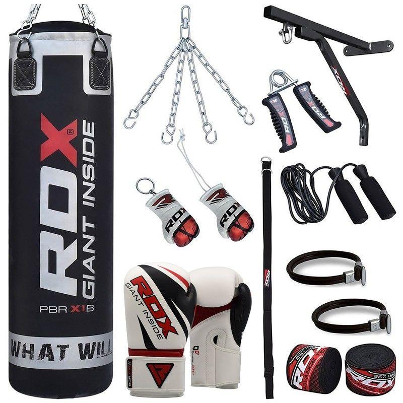 RDX Punching Bags Set Gloves Heavy Punch Bag Boxing Dual Kick Training Station