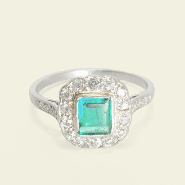 Edwardian Emerald and Diamond Cluster Ring, $3,500.00