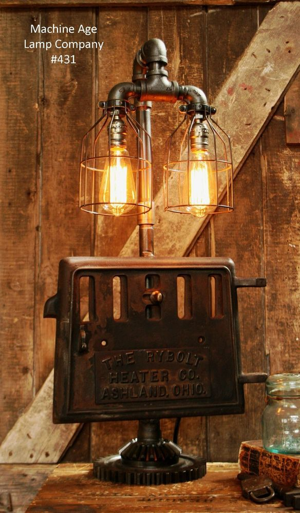 Steampunk Lamp Industrial Machine Age Iron Stove Plate Door Light Gear Loft in Collectibles, Lamps, Lighting, Lamps: Electric   eBay