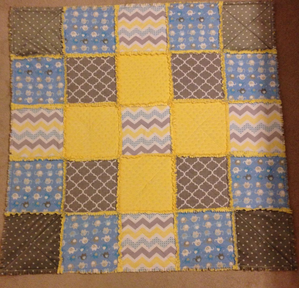 Yellow, gray, and blue minky baby rag quilt, March 2015 ~Chelmo