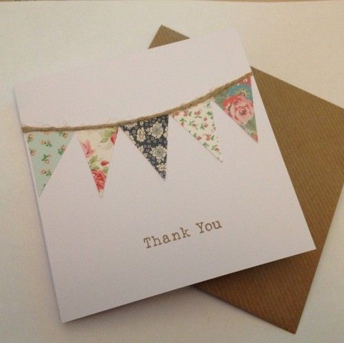 Handmade Shabby Chic Bunting Vintage Thank You Wedding