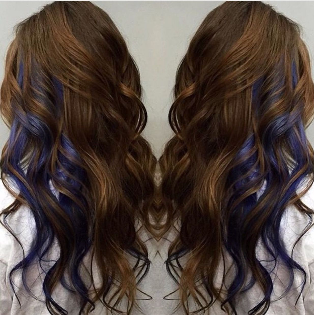 Brown with peek a boo blue streaks  colored hair  Pinterest  Blue