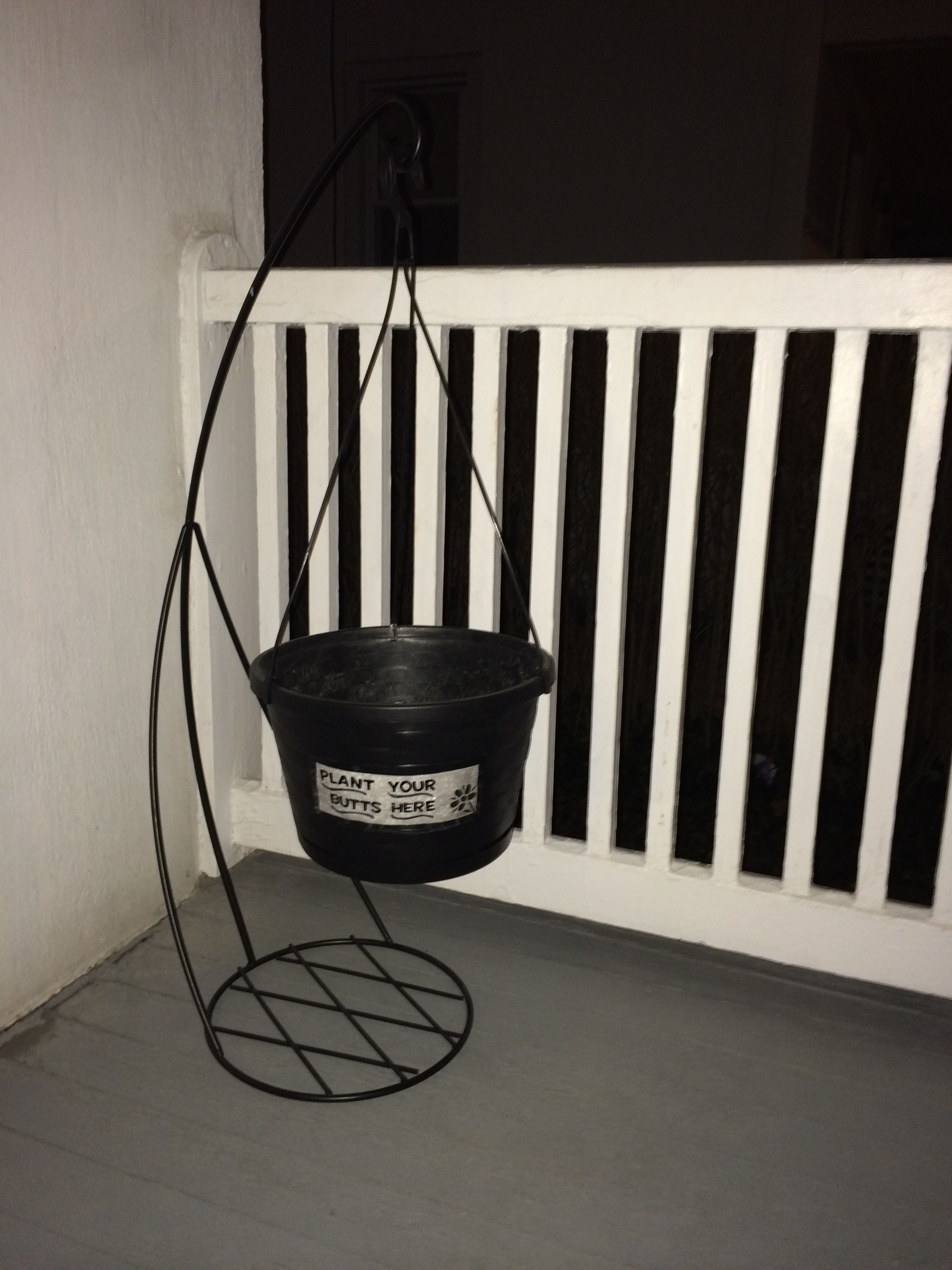 Cigarette Butt Bucket For My Front Porch Only Cost Me 10 Hanging