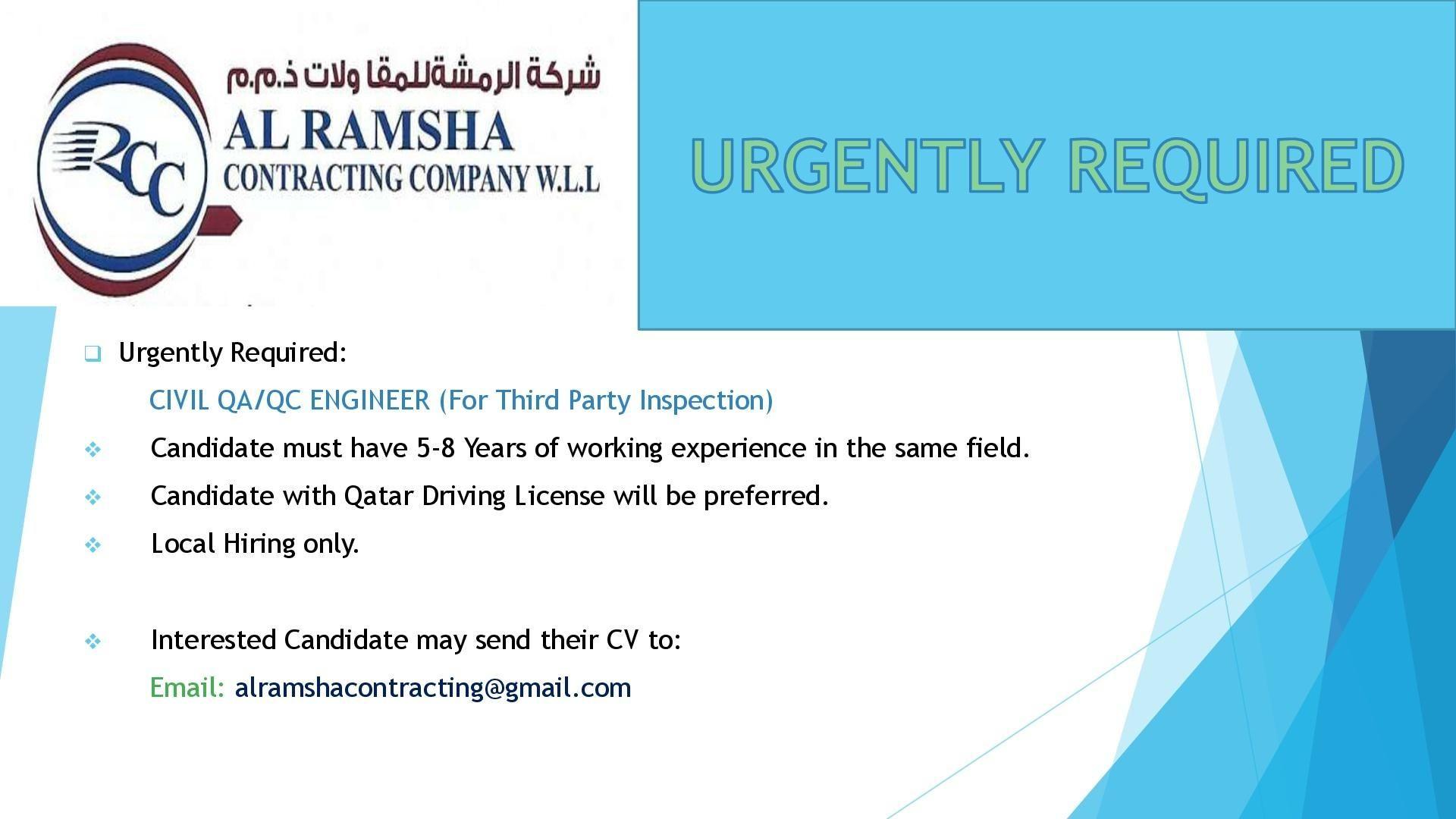 Civil QA / QC Engineer Qatar Job Openings Job opening, Job